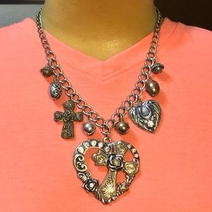 Jewelry - Heart necklace with cross inside